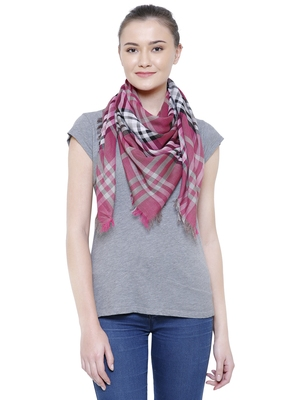 Dark Pink & Beige Viscose Rayon Checked Woven Design Scarf