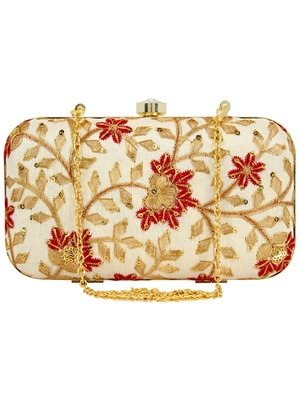 Ethnique Embroidered Party Clutch Bag Gold & Multi