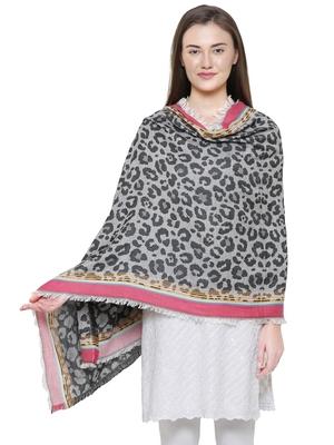 Grey and Black Cotton Viscose  Animal Woven Design Shawl
