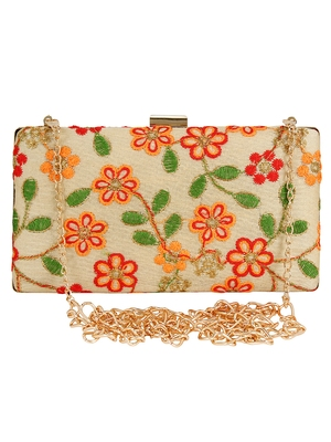 Ethnique Embroidered Party Clutch Bag Beige & Multi
