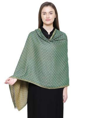Green Cotton Viscose Geometric Woven Design Shawl