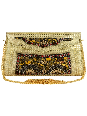 Jewel Mosaic Design and Embelished Party Clutch Bag Gold and Multi
