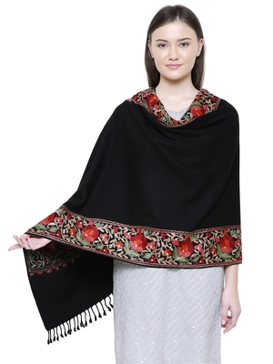 Black & Multicolour Viscose wool Floral Embroidered Shawl