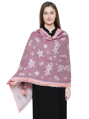 Pink Cotton Viscose Star Woven Design Shawl