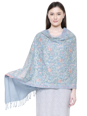 Light Blue and Multi Floral  Embroidered Woolen Shawl