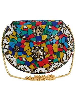 Jewel Mosaic Design Metal Work Party Clutch Bag Multi