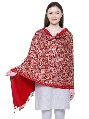 Red Floral  Embroidered Woolen Shawl
