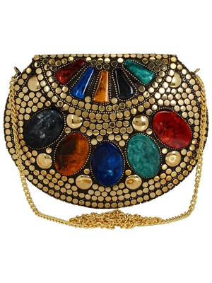 Jewel Mosaic Design Metal Work Party Clutch Bag Gold and Multi