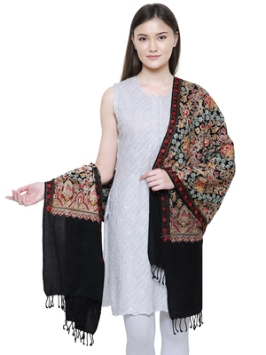 Black & Multicolour Floral Embroidered Woolen Shawl
