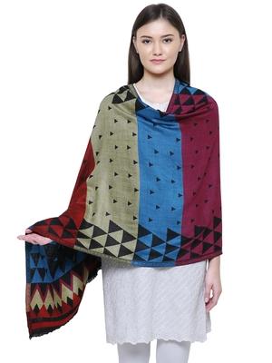 Multicolour Viscose Rayon Geometric Woven Design Shawl