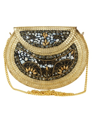 Jewel Mosaic Design Stone Work Party Clutch Bag Gold and Multi