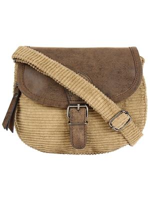 Classic Beige Cotton & Leatherette Sling Bag