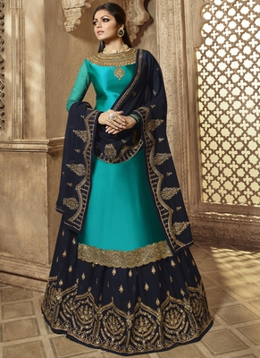 Turquoise Embroidered Georgette Kameez With Skirt