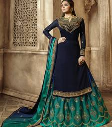 Blue Embroidered Georgette Kameez With Skirt