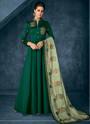 Green embroidered silk blend salwar