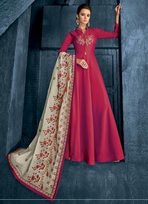 Red embroidered silk blend salwar