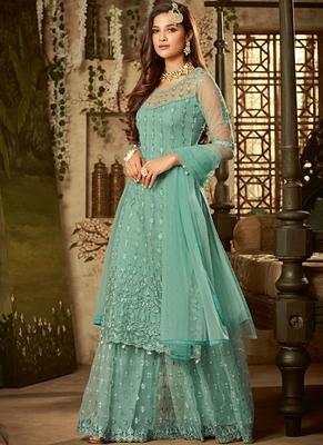 Sky-blue sequins net kameez with sharara