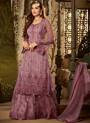 Light-wine sequins net salwar