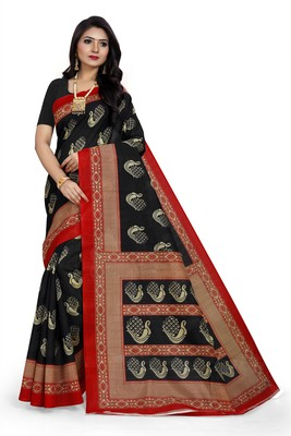 Black printed art silk sarees saree with blouse