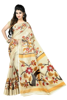 Chiku printed art silk sarees saree with blouse