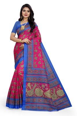 dark pink printed art silk sarees saree with blouse