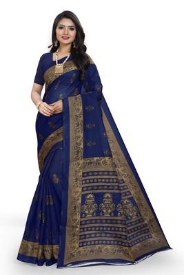 Aqua blue printed art silk sarees saree with blouse