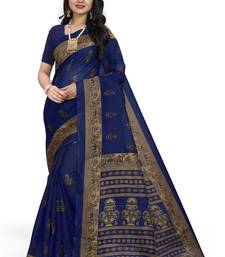 Aqua blue printed art silk sarees saree with blouse