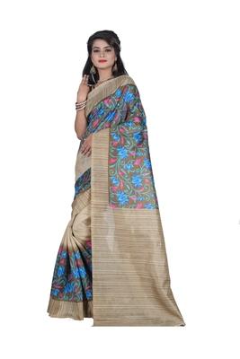 Light ivory printed art silk sarees saree with blouse