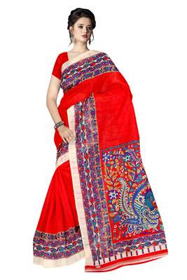 Blood red printed art silk sarees saree with blouse