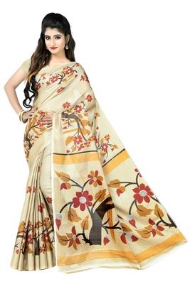 Chiku printed art silk sarees saree with blouse