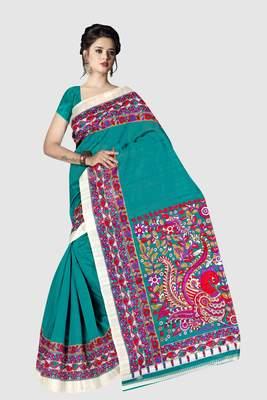 Light blue printed art silk sarees saree with blouse