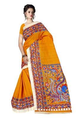 Light yellow printed art silk sarees saree with blouse
