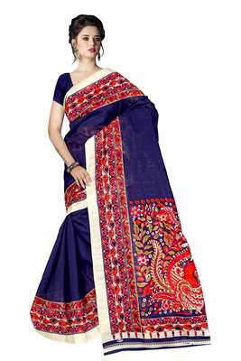 Dark blue printed art silk sarees saree with blouse