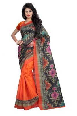 Dark orange printed art silk sarees saree with blouse