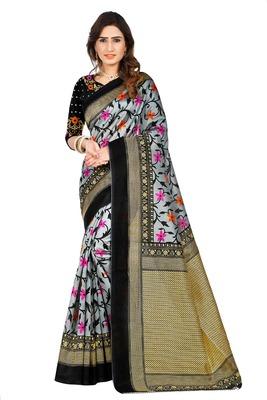 Dark aqua blue printed art silk sarees saree with blouse