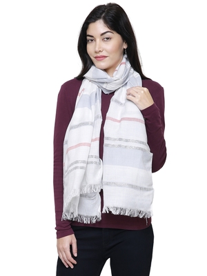 Viscose Rayon Striped Woven Design Stole White & Grey