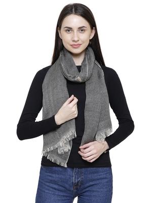 Voscose Rayon Striped Woven Design Scarf Grey