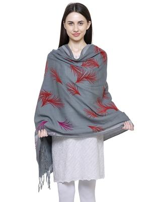 Voscose Rayon Flocked Printed Woven Design Shawl Grey