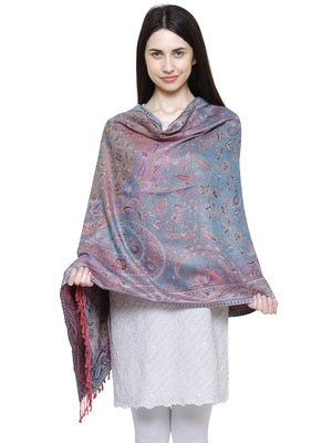 Voscose Rayon Floral Paisley Woven Design Shawl Pink and Multicolour