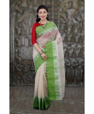White hand woven cotton saree