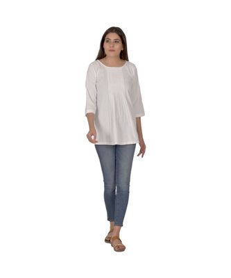 Sheer White Designer Khadi Top