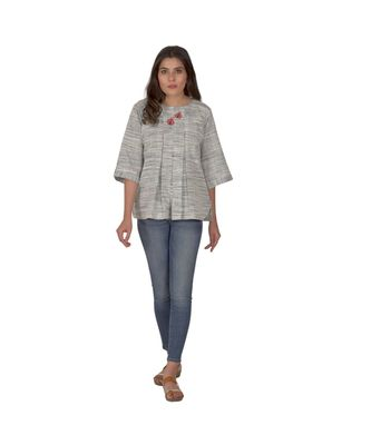 Shaded Blueish Grey Top With Floral Bee Motifs In Khadi Cotton