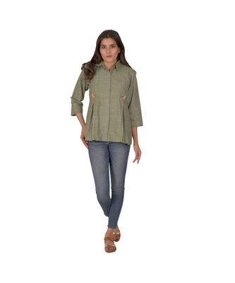 Olive Green Top In Khadi Cotton