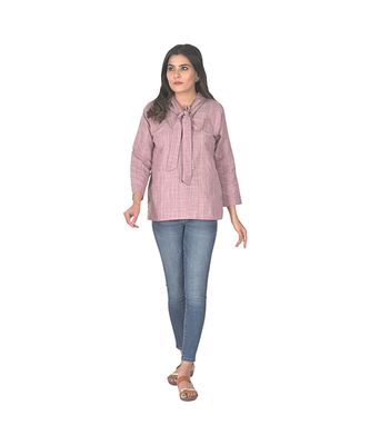 Blush Pink Front Tie Up Straight Top In Khadi Cotton Top
