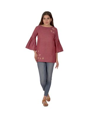 Cherry Red Top In Khadi Cotton