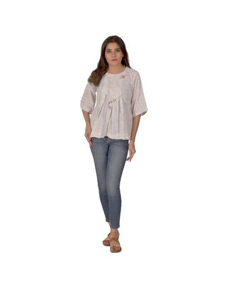 A Cream And Light Blue Top With Floral Embroidery In Khadi Cotton