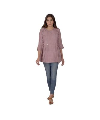 A purple Top With Coin Embellishment In Khadi Cotton