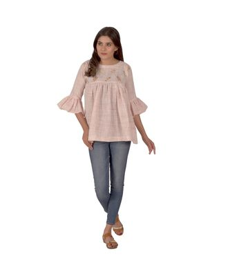 Baby Pink Top With Floral Embroidery In Khadi Cotton