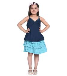 Multicolor printed cotton kids-skirts
