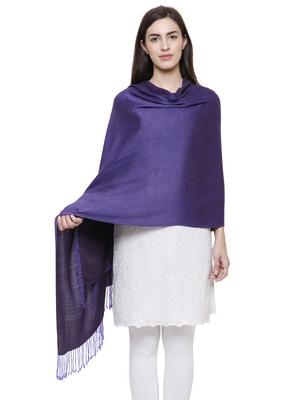 Solid Viscose rayon Reversible Shawl Purple